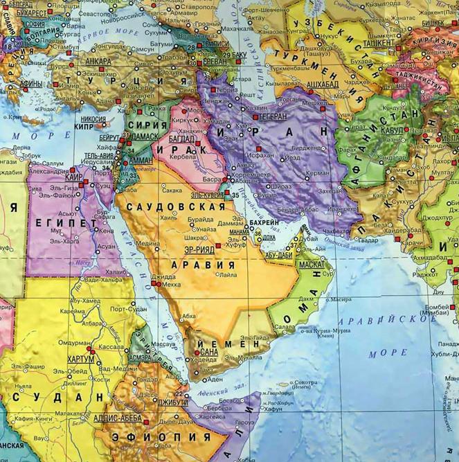Сирия и Египет на карте