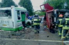 ДТП 13.07.2013 в Новой Москве: столкнулись автобус и грузовик