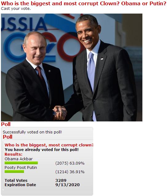 Кто является самым большим и коррумпированным клоуном? Обама или Путин?